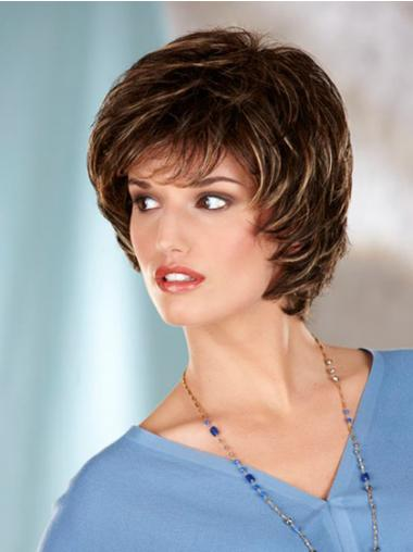 Wavy Brown Designed Chin Length Classic Wigs