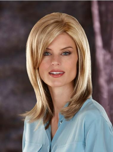 Shoulder Length With Bangs Straight Blonde Exquisite Synthetic Wigs