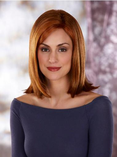 Straight Without Bangs Shoulder Length Auburn Convenient Lace Front Wigs