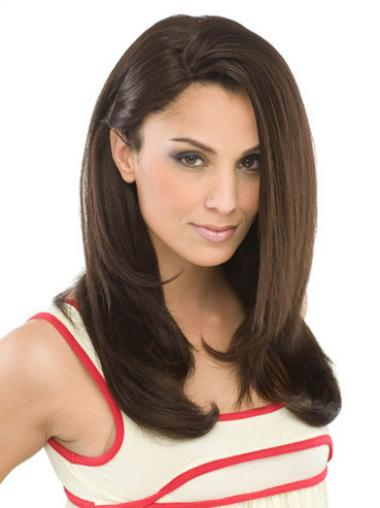 Long Hair Synthetic Wigs To Buy Straight Style Brown Color