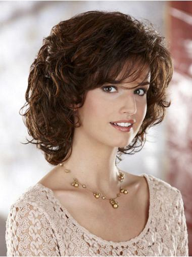 Curly Brown Sleek Chin Length Classic Wigs