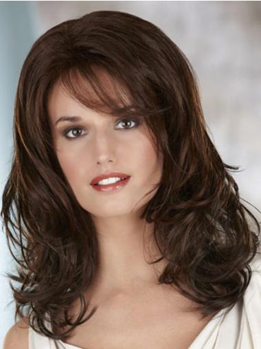 Soft Brown Long Wavy With Bangs Lace Front Wigs