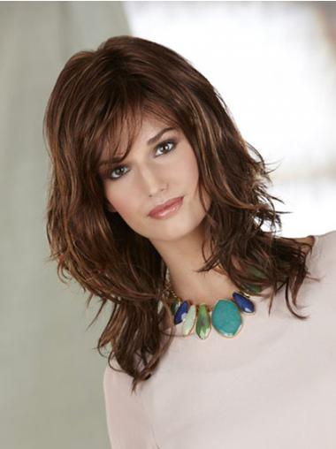 Shoulder Length Layered Wavy Auburn Ideal Synthetic Wigs