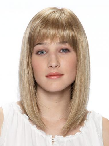 """14"""" Blonde Straight Bobs Shoulder Synthetic Lace Front Wig"""