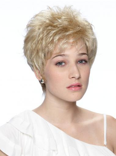 Cropped Boycuts Wavy Blonde Fashionable Synthetic Wigs
