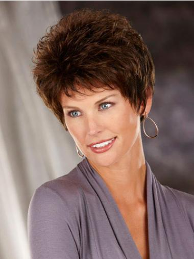 Heat Friendly Synthetic Hair Classic Cuts Short Length Brown Color