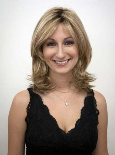 Shoulder Length Layered Wavy Blonde Style Synthetic Wigs