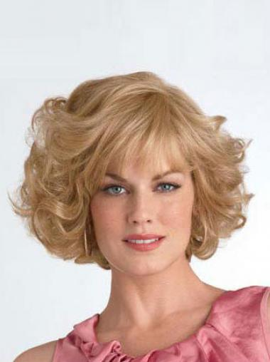 Chin Length Layered Curly Blonde Good Synthetic Wigs