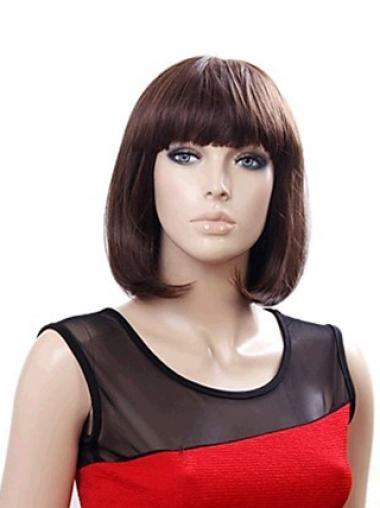 Chin Length Bobs Straight Auburn Incredible Synthetic Wigs