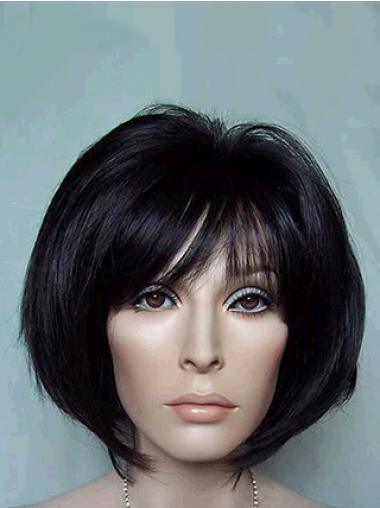 Chin Length Bobs Straight Black Suitable Synthetic Wigs