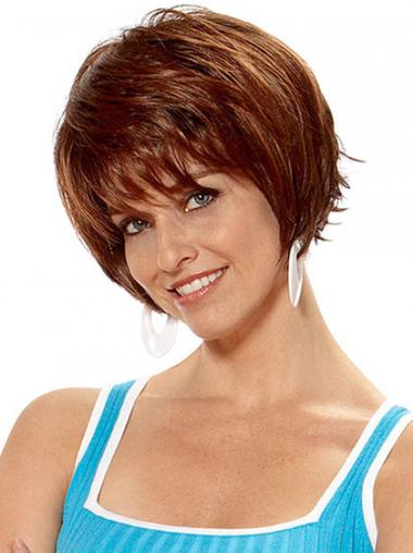 Short Layered Straight Auburn Popular Synthetic Wigs