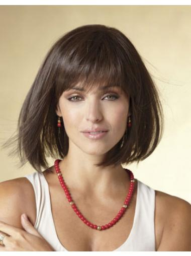 Black Chin Length Straight Bobs Capless Black Synthetic Hair