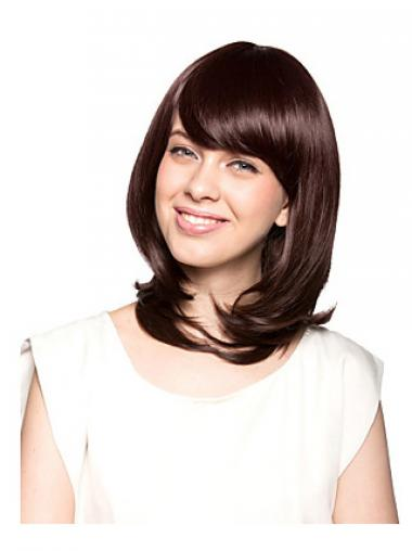 Shoulder Length With Bangs Wavy Auburn Beautiful Synthetic Wigs