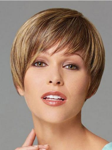 Cropped Boycuts Straight Blonde Designed Synthetic Wigs