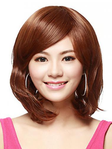 Shoulder Length Bobs Straight Auburn Flexibility Synthetic Wigs