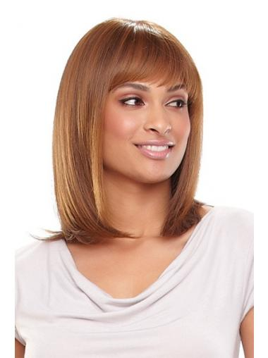 "Auburn Shoulder Length Straight With Bangs 13"" Fabulous Medium Wigs"