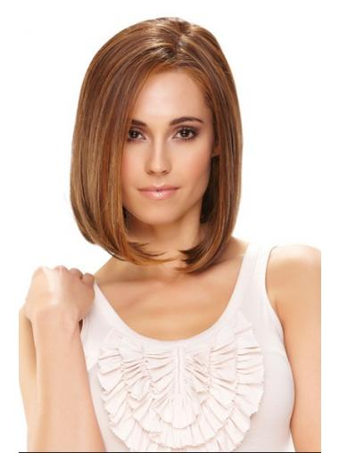 Synthetic Front Lace Wigs Chin Length Monofilament Straight Style Brown Color