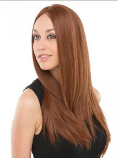 UK Mono Wigs Human Hair With Lace Front Auburn Color Long Length