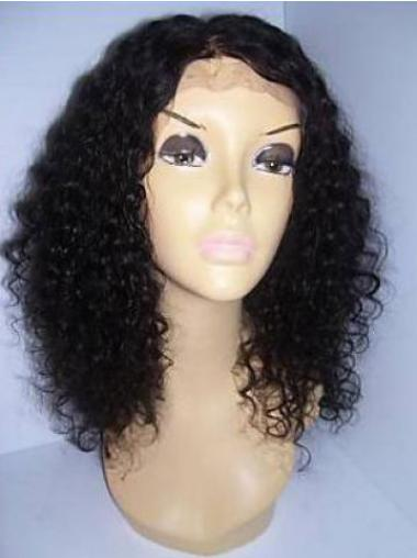 Curly Human Hair With Lace Front Black Color Shoulder Length