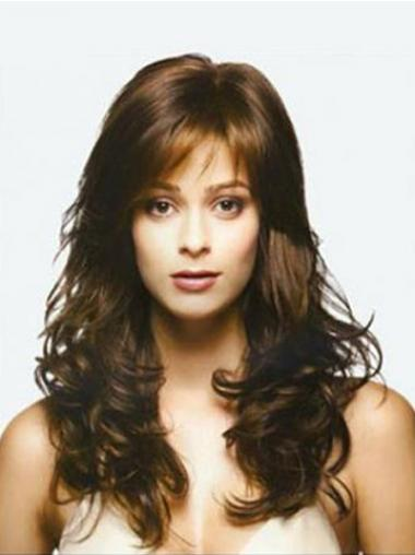 Brown Long Top Wavy With Bangs Lace Wigs