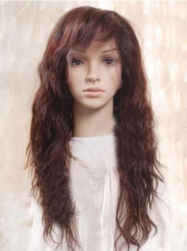 Auburn 100% Hand Tied Layered Wavy Remy Human Long Mono Wigs