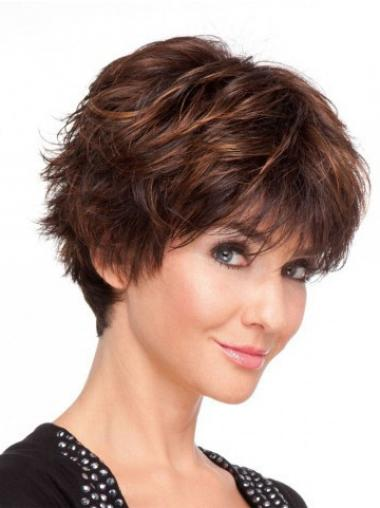 Remy Human Layered Short Wavy Monofilament Human Hair Wigs UK