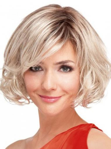 100% Hand-tied Chin Length Wavy Blonde Top Bob Wigs