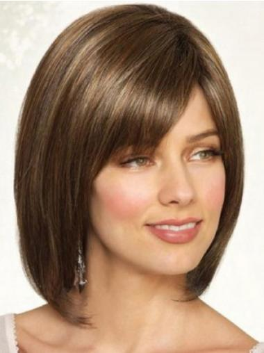 Synthetic Straight Chin Length Brown Bobs Handmade Wigs