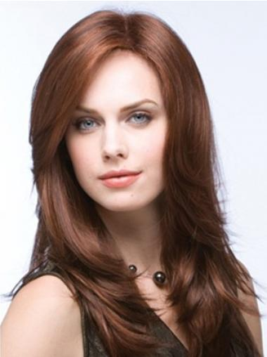 Long Straight Layered Synthetic Brown Auburn Wigs Monofilament