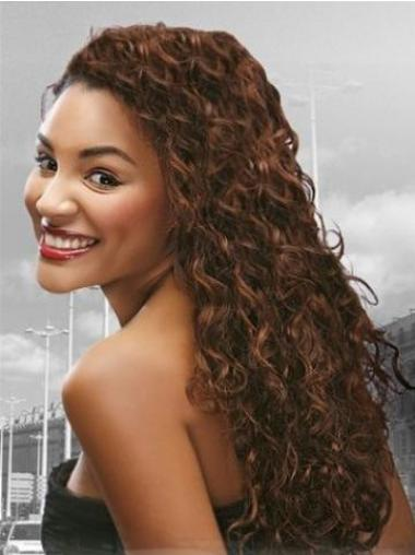 Auburn Long Stylish Curly Without Bangs Lace Wigs
