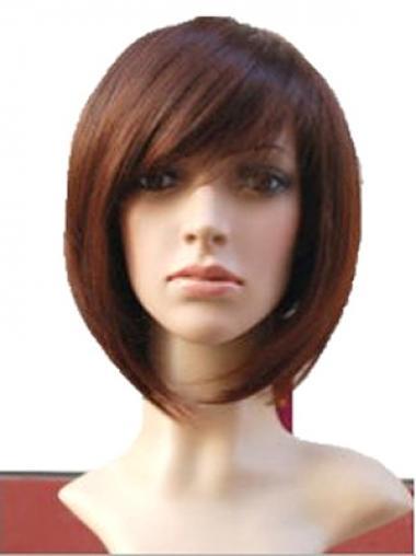 "Auburn 10"" Wavy Short Remy Human Hair Monofilament Bob Wigs"