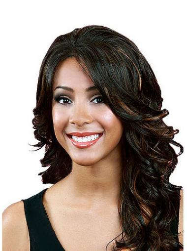 Wavy With Bangs Long Black Durable Lace Front Wigs