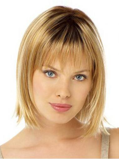 Stylish Blonde Chin Length Straight With Bangs Lace Front Wigs