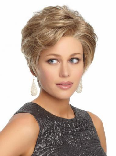 Durable Blonde Short Wavy Without Bangs Lace Front Wigs