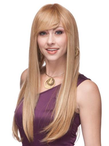 Straight With Bangs Monofilament Blonde Top Long Wigs
