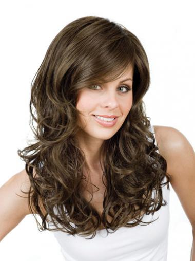 Curly With Bangs Long Brown Ideal Lace Front Wigs
