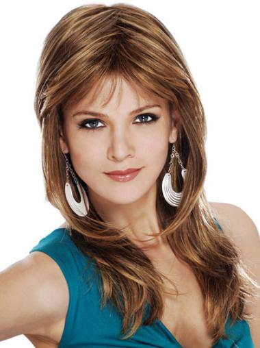 Straight Layered Long Brown Fashionable Lace Front Wigs