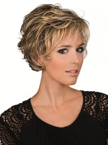 Human Hair Brown With Lace Front Cropped Length Layered Cut