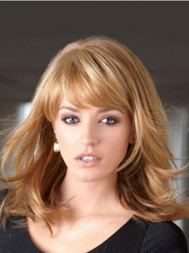Straight With Bangs Shoulder Length Blonde Fashion Lace Front Wigs