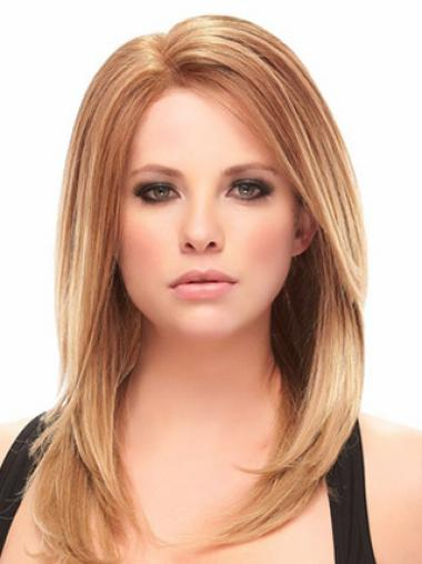 Auburn Shoulder Length Trendy Straight Without Bangs Lace Wigs