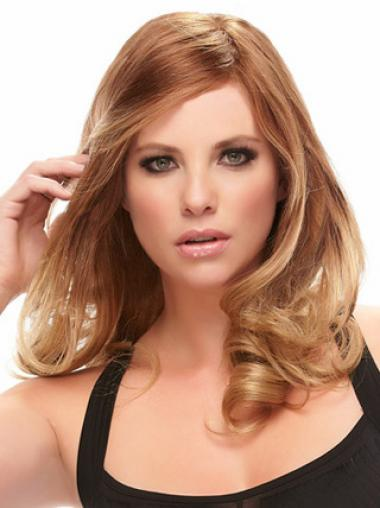 Layered New Wavy Auburn Long Human Hair Lace Front Wigs