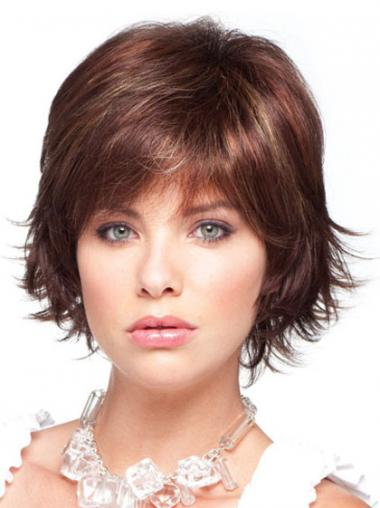 Chin Length Layered Straight Auburn No-Fuss Synthetic Wigs