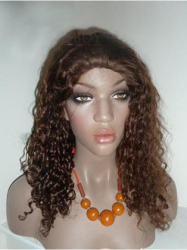 Brown Long Soft Curly Without Bangs Lace Wigs