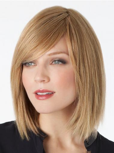 Lace Front Shoulder Length Straight Blonde Trendy Bob Wigs
