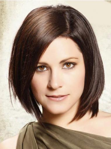 Lace Front Chin Length Straight Brown Soft Bob Wigs