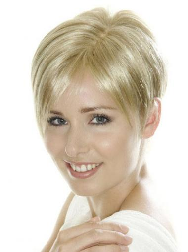 Soft Blonde Cropped Straight Boycuts Lace Front Wigs