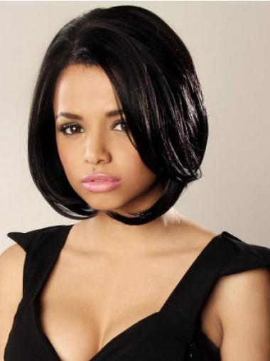 Lace Front Chin Length Wavy Black Durable Bob Wigs