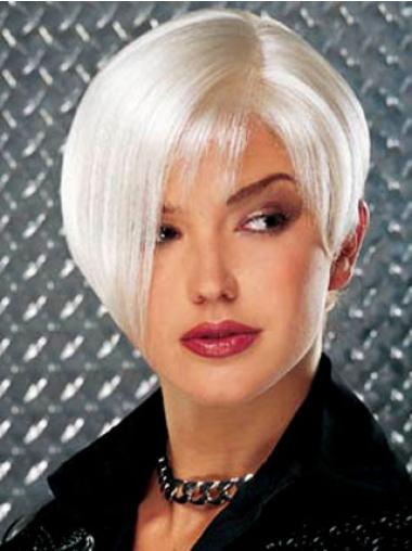 Durable Short Straight Grey Lace Front Wigs