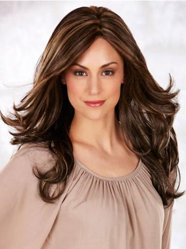 Long Monofilament Wigs Wavy Style Long Length Brown Color