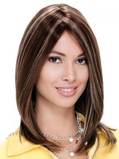 """Monofilament Straight Without Bangs Shoulder Length 13"""" Fashionable Human Hair Wigs"""